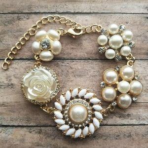 Dazzling Gold & Pearl Bracelet Handmade Bracelet